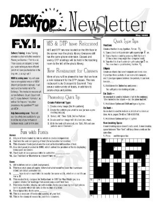 This is the Desktop Publishing Newsletter that Deanna Yildiz worked on to create monthly content for in order to keep the art directors on top of all the latest print and web production techniques.