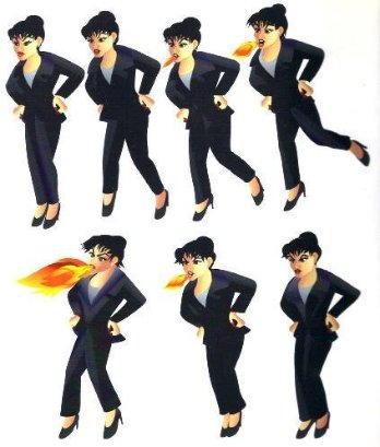 This is a series of images showing a lady with a bun in her hair and a business suit as she stomps her foot and breathes fire in an angry display.