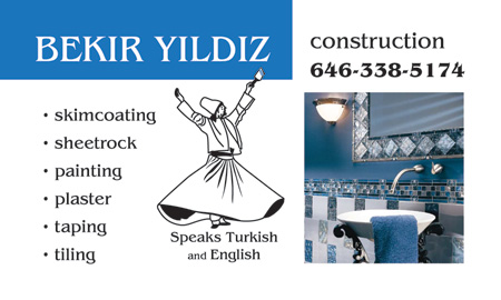 This is an image of a business card designed by Deanna for Bekir Yildiz who is a construction worker. It shows a freshly tiled and decorated bathroom along with an illustration of a whirling Turkish spiritual dervish dancer.