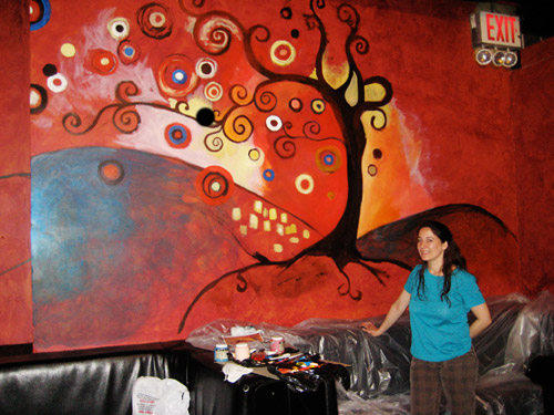 Showing the mural in progess.