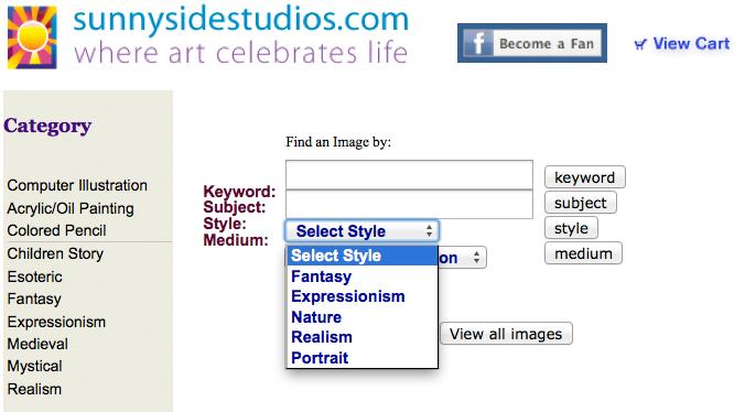 Artist website form design
