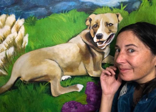 Acrylic Painting of a pet pitbull named Bella by Deanna Yildiz.